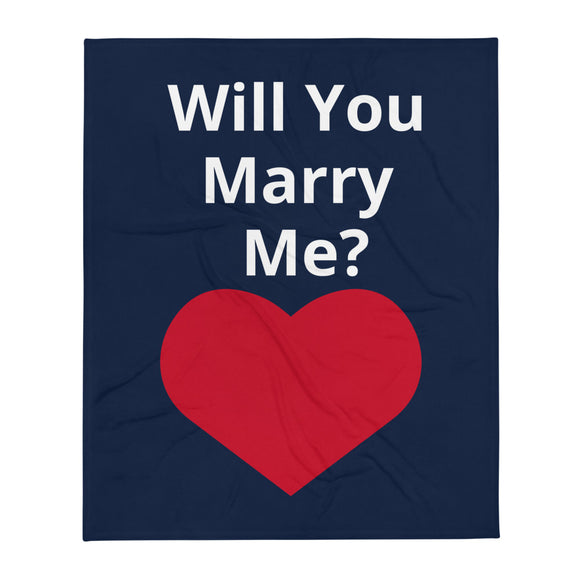 Will You Marry Me? White Text Navy Blue Background Red Heart Valentine's Day Gift Themed White Background With Theraphina Logo Design Throw Blanket