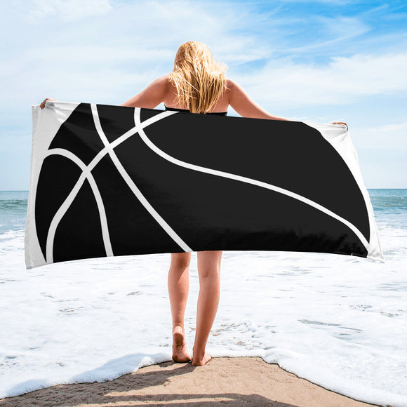 Black & White Basketball Design For Enthusiast Beach Towel For Him or Her