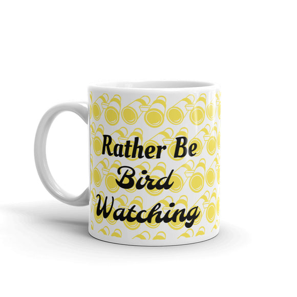 Rather Be Bird Watching Yellow Binocular Pattern Design Gift For Dad, or Mom, Lover, Wife or Husband, Boyfriend or Girlfriend Mug For Him or Her