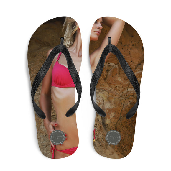 Girl In Red Bikini Theraphina Logo Flip-Flops