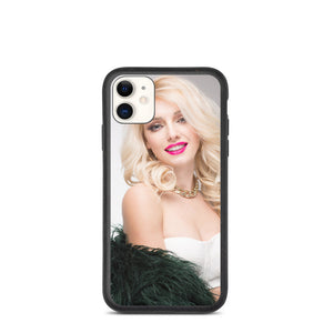Blonde Glamour Girl In White Bodice with Black Feather Shawl Biodegradable phone case