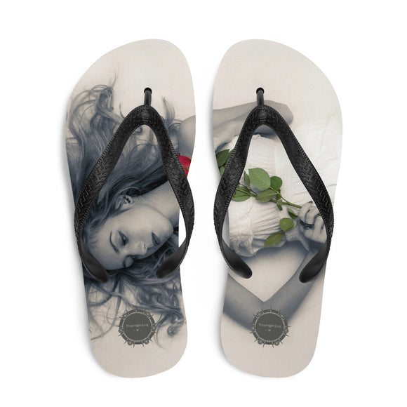 Girl with Rose Theraphina Logo Flip-Flops