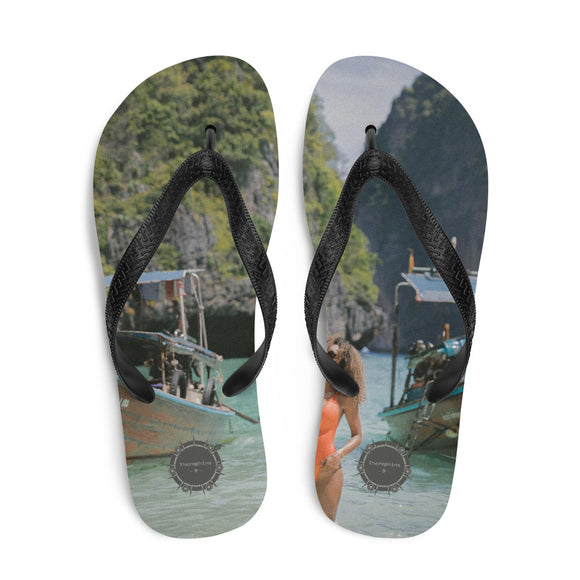 Boat Orange Swimsuit Theraphina Logo Flip-Flops