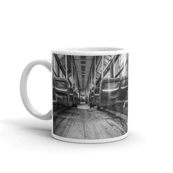 Black & White Photo Interior of Bus Mug Art Print