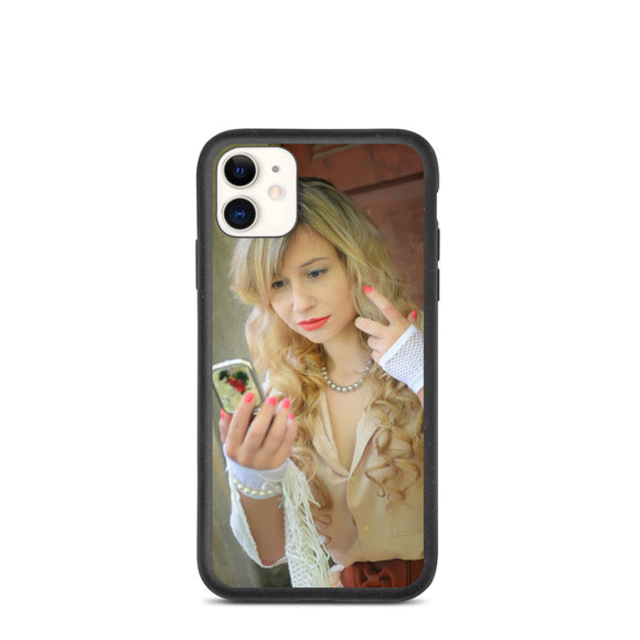Cutie Checking The Mirror White Lace Gloves Biodegradable phone case