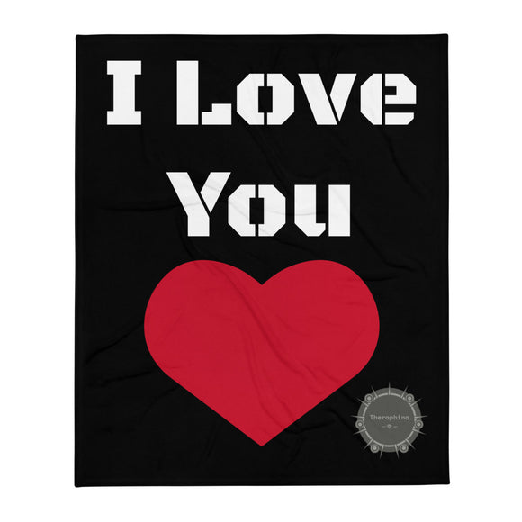 I Love You White Stencil Text Black Background Red Heart Valentine's Day Gift Themed White Background With Theraphina Logo Design Throw Blanket
