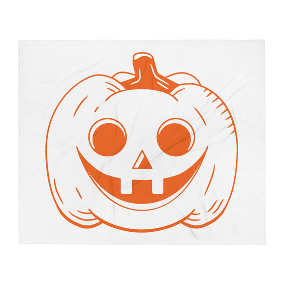 Orange Jack O Lantern Halloween Throw Blanket
