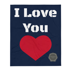 I Love You White Stencil Text Navy Blue Background Red Heart Valentine's Day Gift Themed White Background With Theraphina Logo Design Throw Blanket
