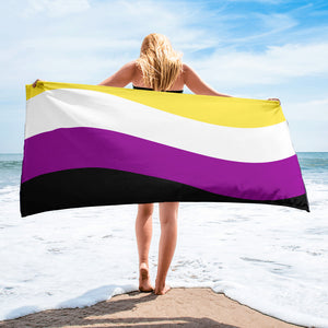Nonbinary Pride Flag Beach Towel For Him or Her