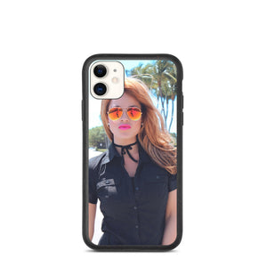 Cute Young Brunette in Short Sleeve Black Top & Mirrored Shades Biodegradable phone case