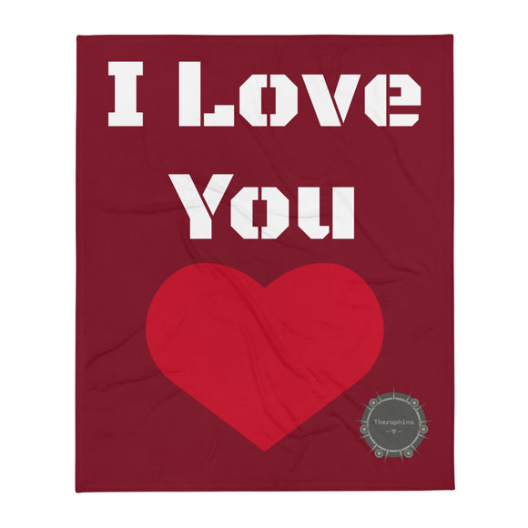 I Love You White Stencil Text Red Background Red Heart Valentine's Day Gift Themed White Background With Theraphina Logo Design Throw Blanket