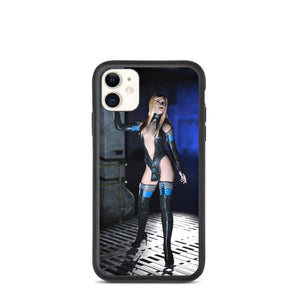 Blonde in Black Cat Suit Thigh High Boots Biodegradable phone case