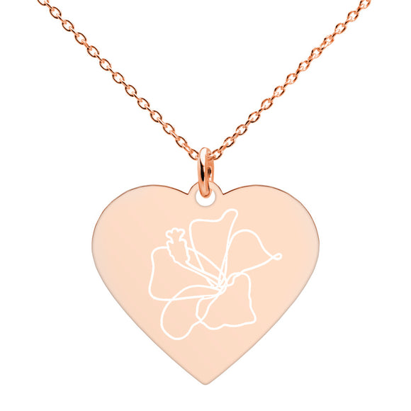 Hibiscus Flower Minimalist Jewelry Engraved Silver Heart Necklace