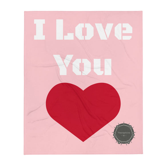 I Love You White Stencil Text Light Pink Background Red Heart Valentine's Day Gift Themed White Background With Theraphina Logo Design Throw Blanket