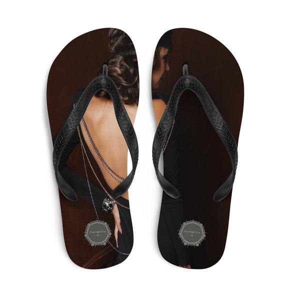 Dark Haired Lady From Behind Theraphina Logo Flip-Flops