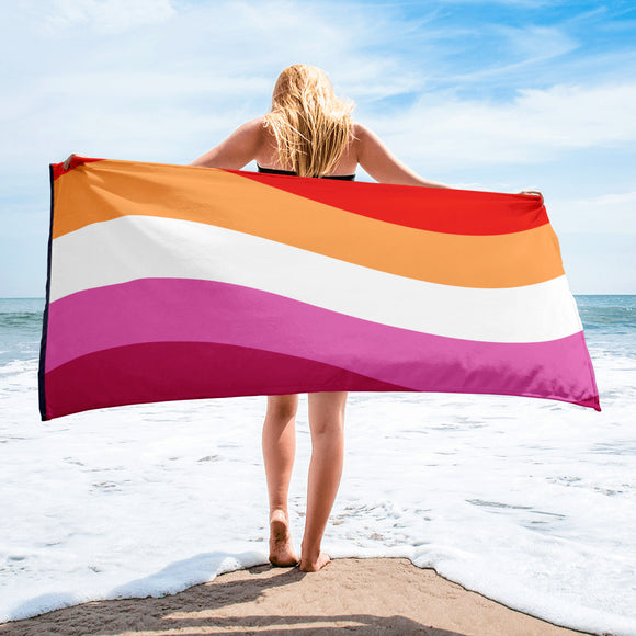 Lesbian Pride Flag Beach Towel For Him or Her
