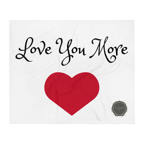 Love You More Red Heart Valentine's Day Gift Themed White Background With Theraphina Logo Design Throw Blanket