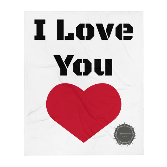 I Love You Stencil Black Text Red Heart Valentine's Day Gift Themed White Background With Theraphina Logo Design Throw Blanket