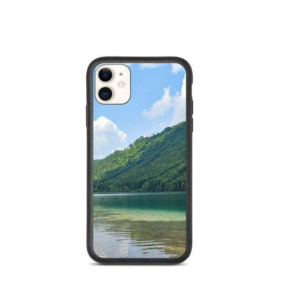 Still Lake Trees Cloudy Sky Biodegradable phone case