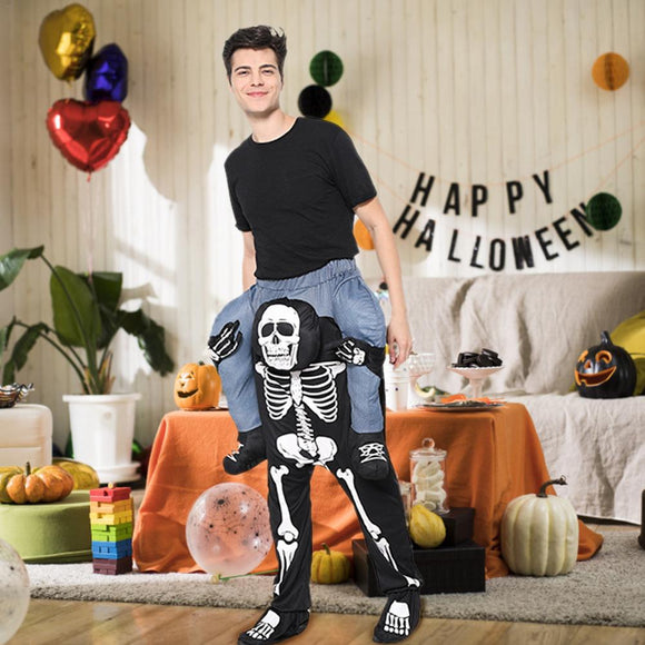 Your Next Halloween Costume Adult Funny Skeleton Printing Costume Scary Costume Black Magic Pants COS Party Halloween Cosplay Suit Stretchy Outfit Femme