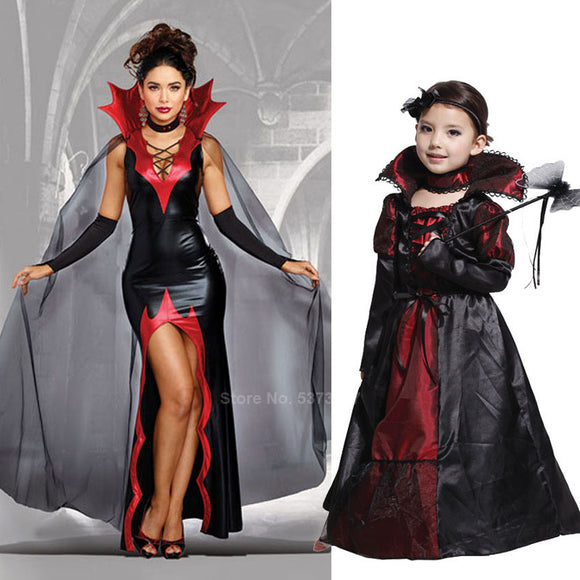 Mother & Daughter Matching Halloween Costumes! Women Victorian Gothic Medieval Scary Vampire Cosplay Dress for Girls