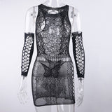Women Sleepwear Nightgowns With Gloves Cut Out Sexy Lace lingerie Sheer Mesh Fishnet Bandage Bodycon Butterfly Pattern Nightwear