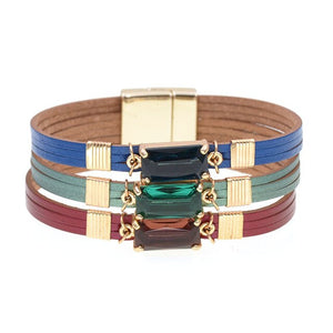 Super cute & trendy fashion glass bracelets leather charm bracelets for women Luxury party Statement Jewelry