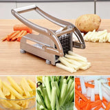 2 Blades Stainless Steel Home French Fries Potato Chips Vegetable Strip Slicer Cutter Chopper Chips Machine Making Tool Potato Cut Fries