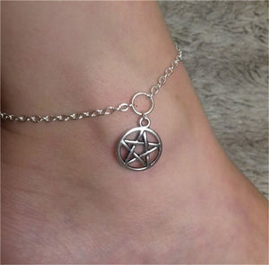 Silver Color Pentagram Anklet, Fashion Jewelry Wiccan Anklet, Pentacle Anklet, Ankle Bracelet, Pagan, Wiccan, Beach Jewelry