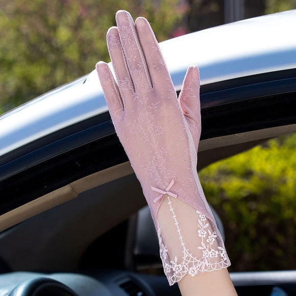 Silk Lace Driving Gloves or Accessory to Halloween Costume Sexy Summer Women UV Sunscreen Short Sun Female Thin Touch Screen Lady Gloves