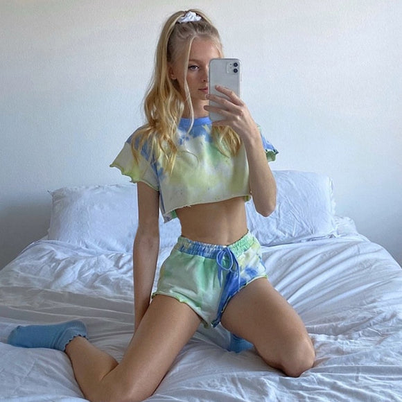 Cute af Summer 2020 Tie Dye Women Set Short Sleeve Crop Top O Neck And Shorts Casual Two Piece Set Sport Outfits Streetwear