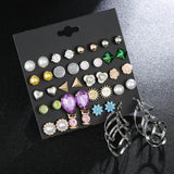 2020 New Designs Stud Earrings Set For Women Super Cute Rainbow Butterfly Flower Enamel Gold Stud Earrings Korean Charm Jewelry