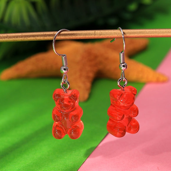 1 Pair Mini Gummy Bear Fashion Earrings Creative Cute Minimalism Cartoon Design Female Ear Hooks Danglers Jewelry Gift
