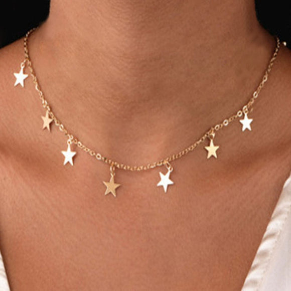 Stunning Non-fading stainless steel butterfly star gold fashion Necklace Women Choker Necklaces Pendants Femme Chain jewelry gifts