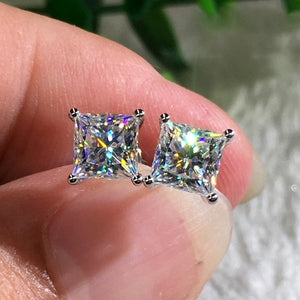 High-quality 8mm Moissanite diamond white square colour cut stud wedding jewelry silver earring