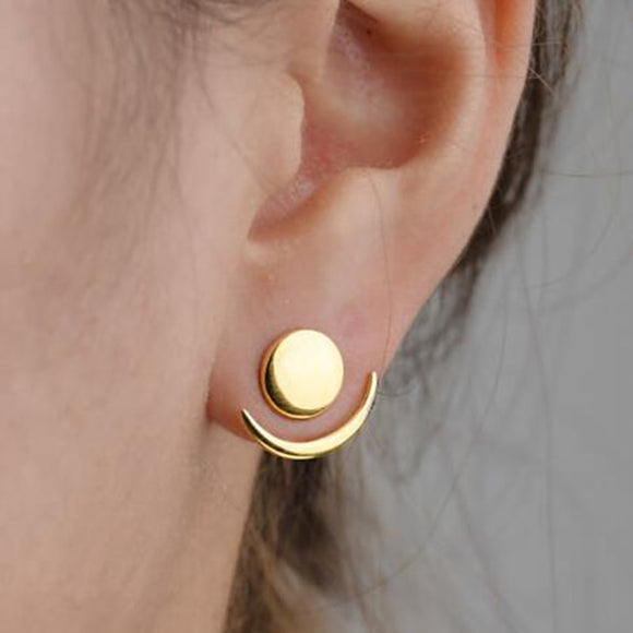 Super Cute Ear Jackets Trendy Crescent Moon Phase Earrings Geometric Round Stud Earrings for Women Sun Moon Set Earring Gifts