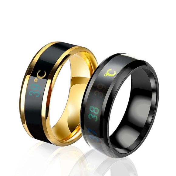 Intelligent Temperature Ring Takes Your Temperature & Displays it! Titanium Steel Mood Emotion Feeling Temperature Sensitive Rings for Women Men Waterproof Jewelry