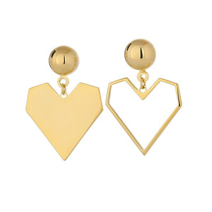 Romantic Heart Asymmetry Hollow Dangle Earrings for Women Fashion Metal Texture Cute Earrings Copper серьги Jewelry Gift