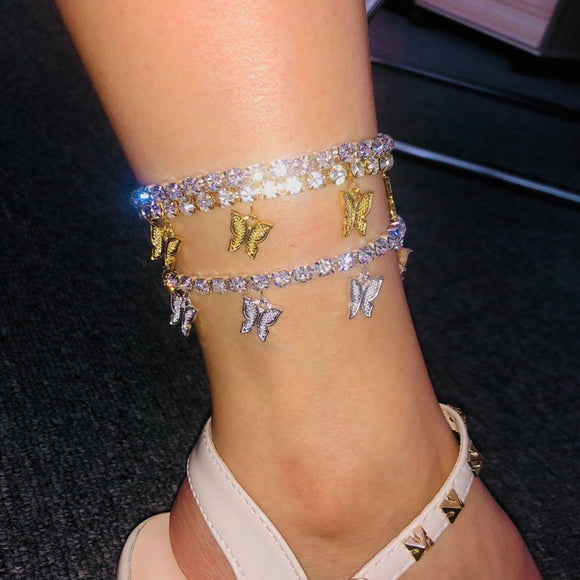 Gorgeous Sparkly Gold Butterfly Anklet Rhinestone Crystal Ankle Bracelet Boho Beach Anklets for Women Sandals Foot Bracelets Female Fashion Jewelry