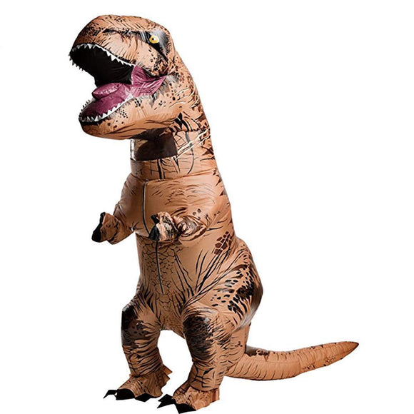 Funny Get Your Dinosaur On With Halloween Inflatable T-Rex Dinosaur Costume Halloween Blow Up Deluxe Dinosaur Fancy Dress Costume Props For Videos Parties