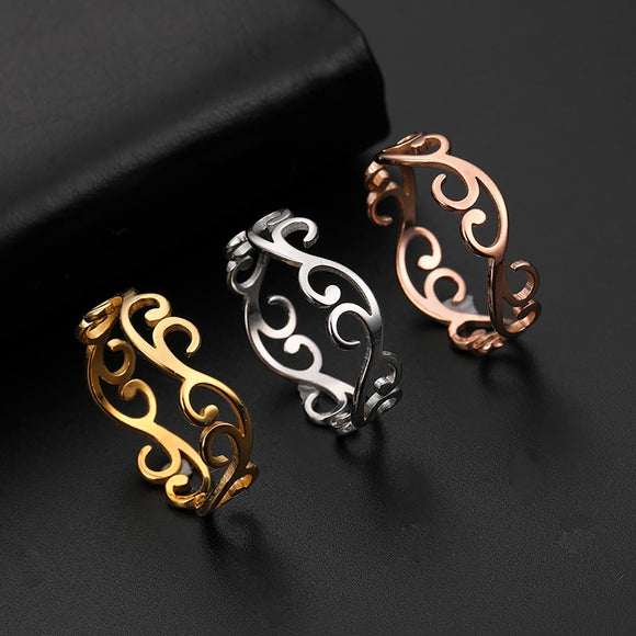 Pretty Swirl Vintage Filigree Flower Ring Women or Girls Stainless Steel Romantic Rose Gold Colour Casual Rings Fashion Jewelry Anniversary Gift