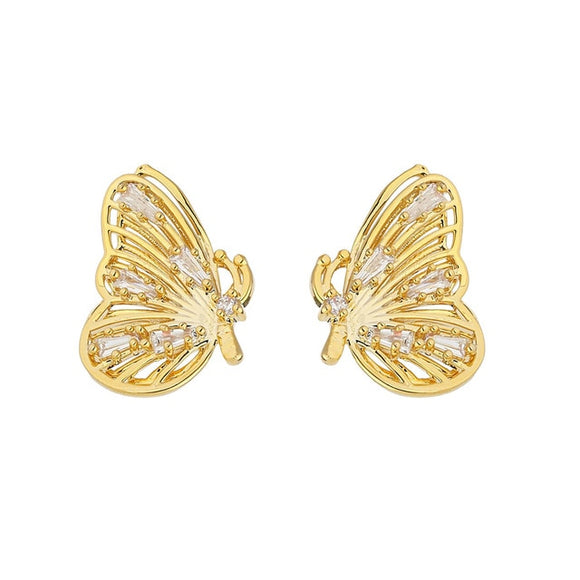Super Cute Exquisite Butterfly Stud Earrings Delicate Shiny Cubic Zirconia Earrings Elegant Gold Metal Jewelry Gift 2020