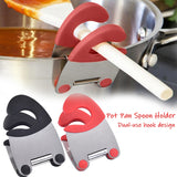 Stainless Steel Pot Pan Holder Spatula Clip Spoon Rest Pots Clip Kitchen Tools For Pan Lid Repose Cuilleres Pot Lid Holder