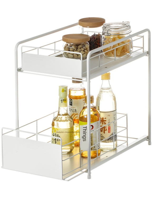 Sturdy Strong Pull-out Kitchen Sink Rack Floor-standing Wrought Iron Storage Rack Two Tier Rack Low Friction Slide Rail