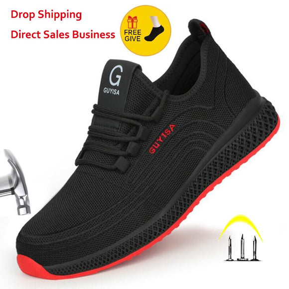 Steel Toe Work Shoes Breathable Working Shoes Man & Women Safety Lightweight Puncture-Proof Safety Boots Air Mesh
