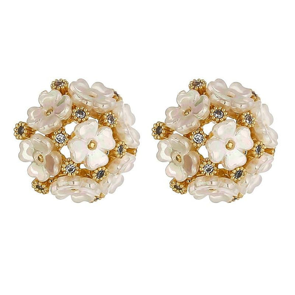 Super Pretty Flower Design Exquisite Artificial Flowers Stud Fashion Earrings Delicate Cubic Zirconia Earrings for Women Bijoux Femme Anniversary Gift
