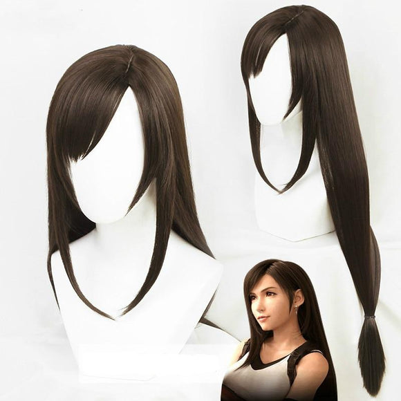 Halloween Wig 100cm Brown Straight Side Parting Styled Synthetic Hair Tifa Lockhart Wigs Cosplay Costume Party Prop for Video Making