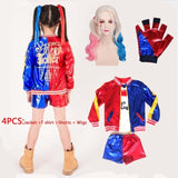 Cute Halloween Kids Costume & Various Accessories Suicide Squad Harley Quinn Coat T-shirt Suits Cosplay Costumes For Children girls Holiday Carnival party Dress up kids