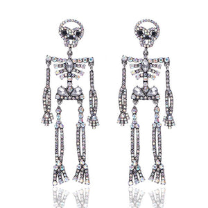 Halloween Accessory Super cute lady shiny Crystal Skeleton Drop Earrings For Women Wedding Party Bohemian Girls Party Statement Dangle Earring Accessories