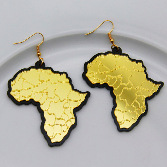 Stunning Statement Gold Color Acrylic Africa Map Show Your Love Drop Earrings For Women Vintage Geometric Big Resin Map Earrings Fashion Jewelry Gifts